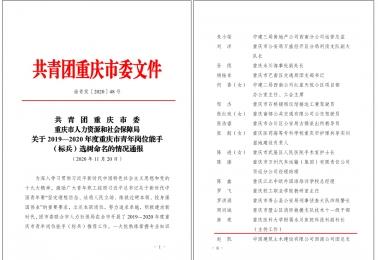 """房亮同志获评""""2019-2020年度重庆市青年岗位能手"""""""